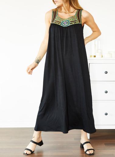 XHAN Siyah Göğsü Işlemeli Kolsuz Elbise 0Yxk6-43860-02 Siyah